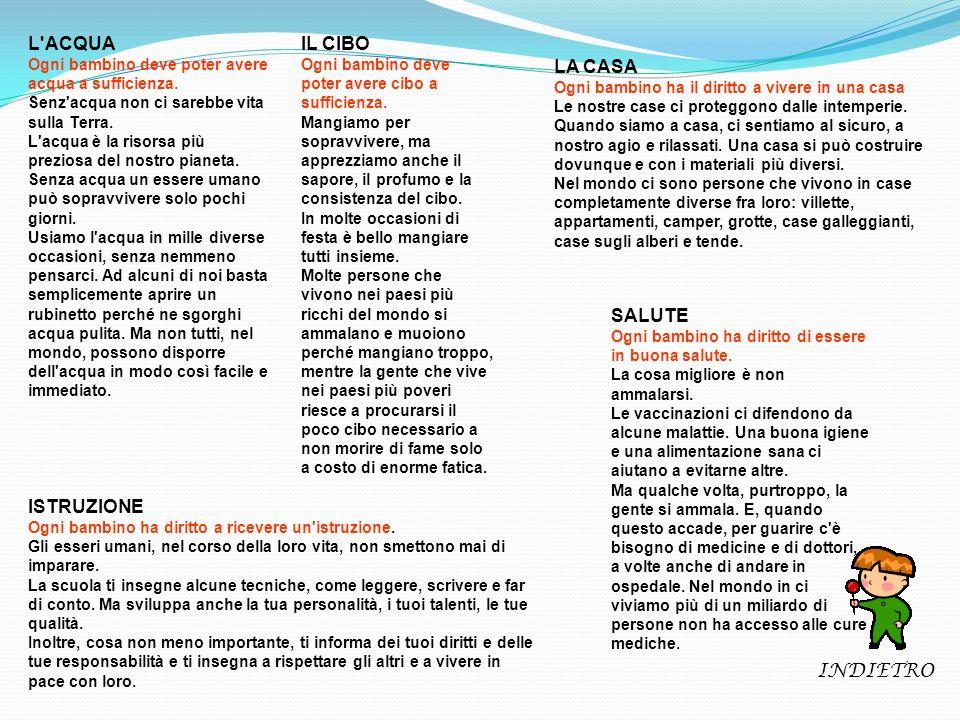 L ACQUA IL CIBO LA CASA SALUTE ISTRUZIONE INDIETRO
