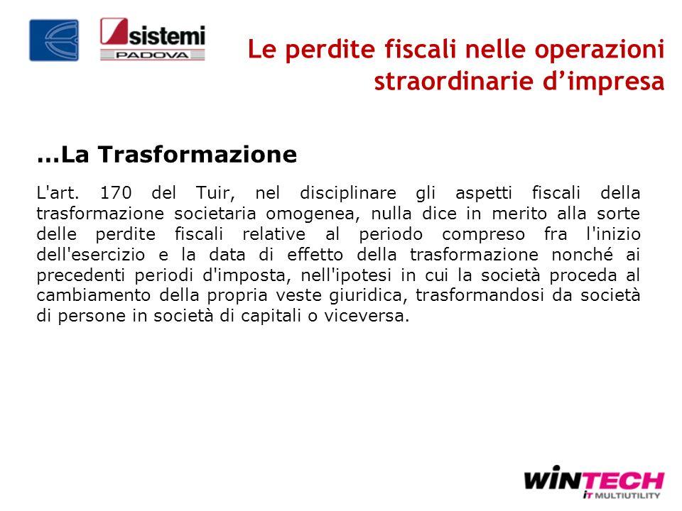 Le perdite fiscali nelle operazioni straordinarie d'impresa