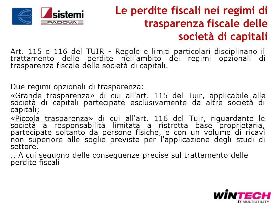 Le perdite fiscali nei regimi di trasparenza fiscale delle società di capitali