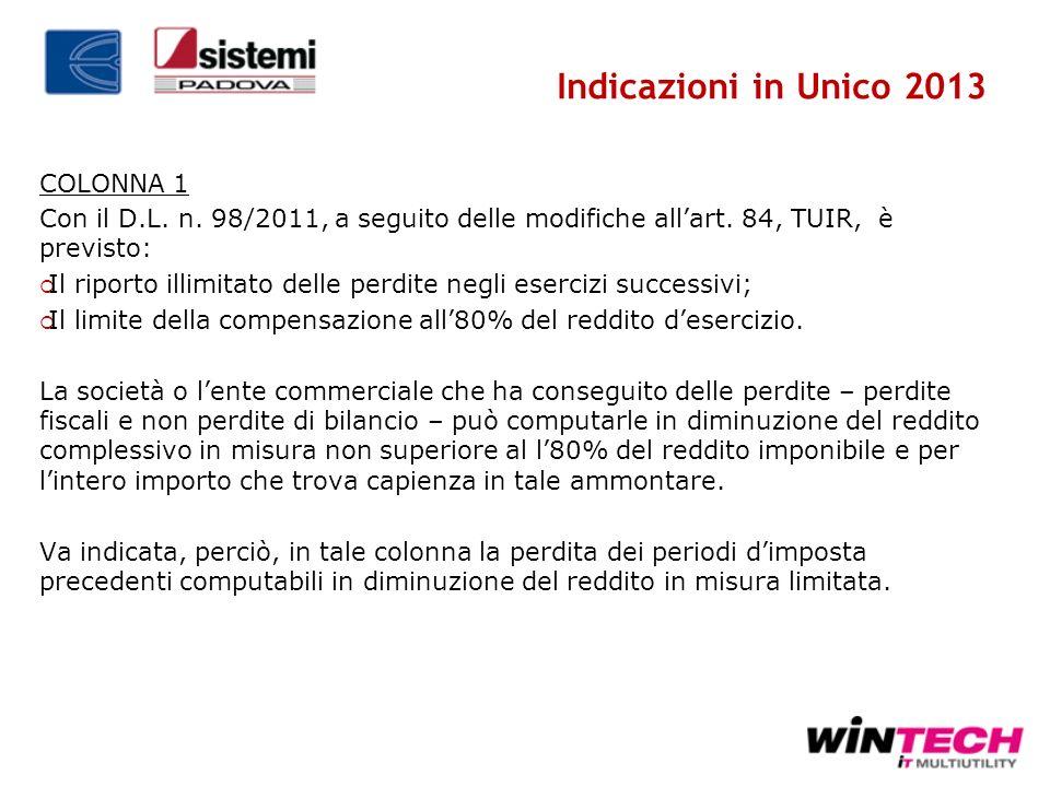 Indicazioni in Unico 2013 COLONNA 1