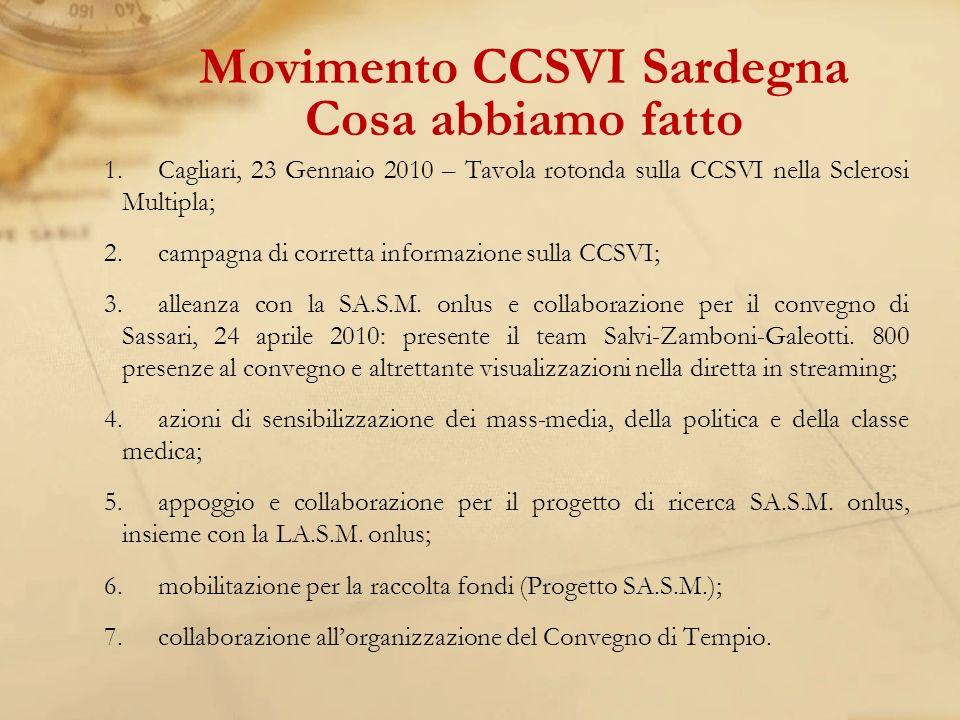 Movimento CCSVI Sardegna Cosa abbiamo fatto