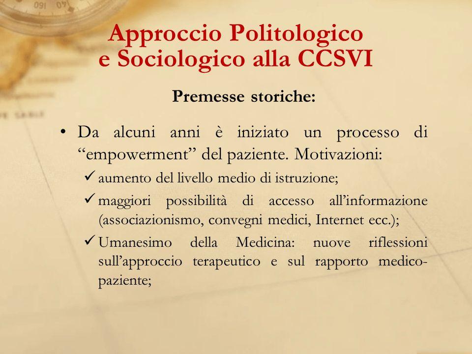 Approccio Politologico e Sociologico alla CCSVI
