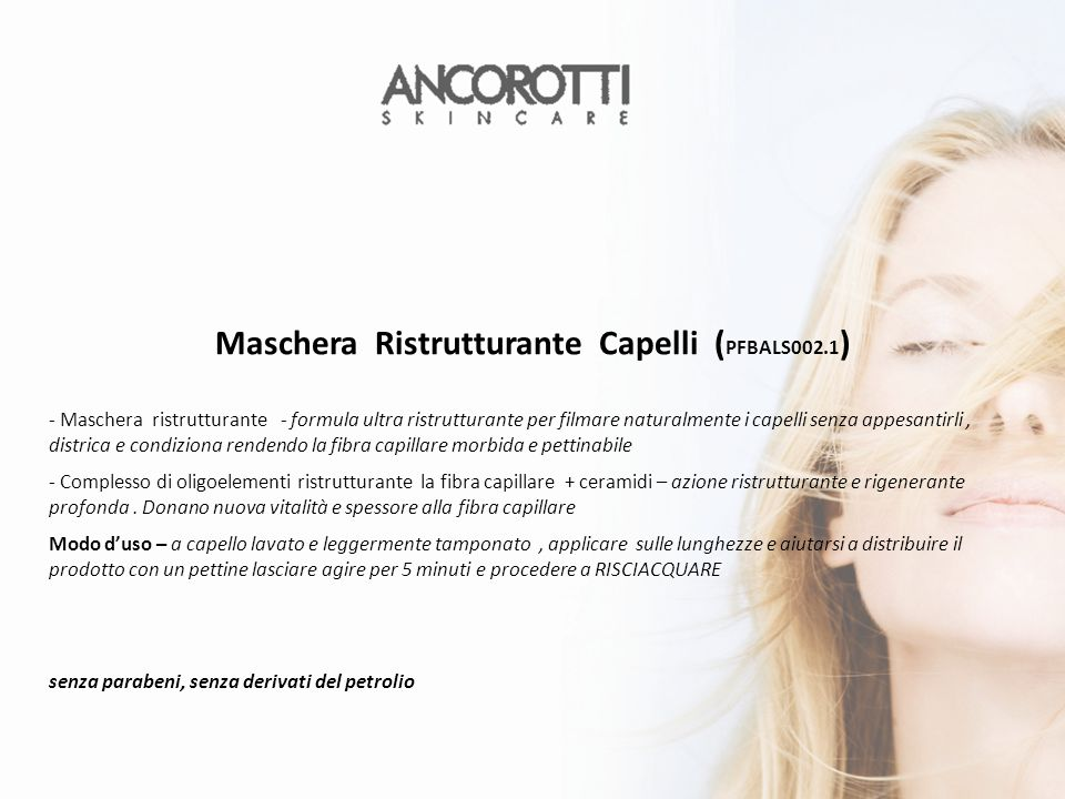 Maschera Ristrutturante Capelli (PFBALS002.1)