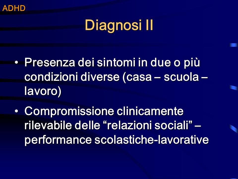 ADHD Diagnosi II. Presenza dei sintomi in due o più condizioni diverse (casa – scuola – lavoro)