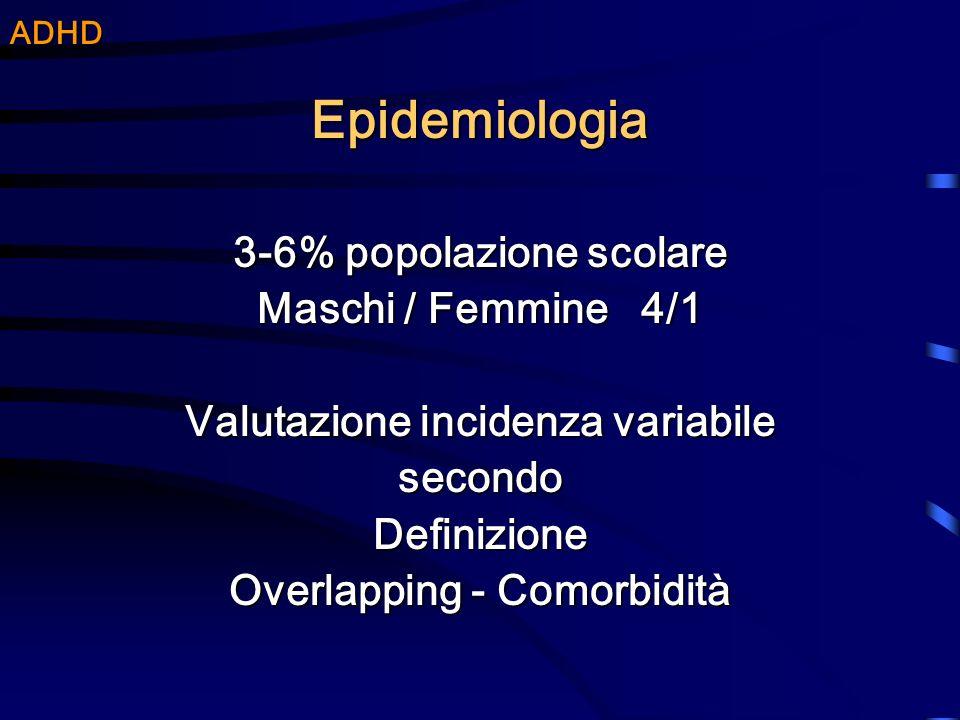 Epidemiologia 3-6% popolazione scolare Maschi / Femmine 4/1