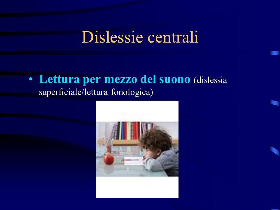 Dislessie centrali Lettura per mezzo del suono (dislessia superficiale/lettura fonologica)