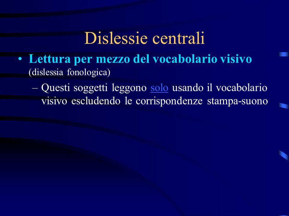 Dislessie centrali Lettura per mezzo del vocabolario visivo (dislessia fonologica)