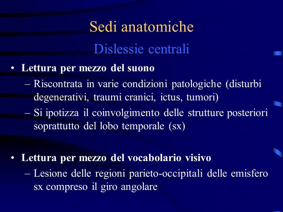 Sedi anatomiche Dislessie centrali