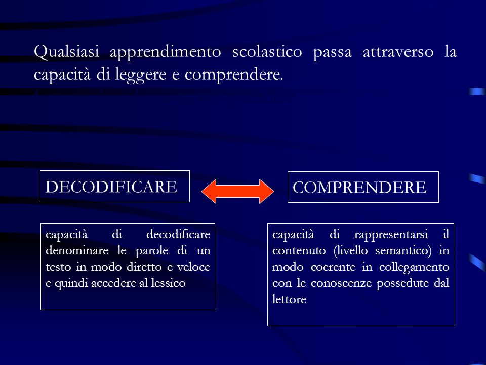 Lettura: decodificare - comprendere