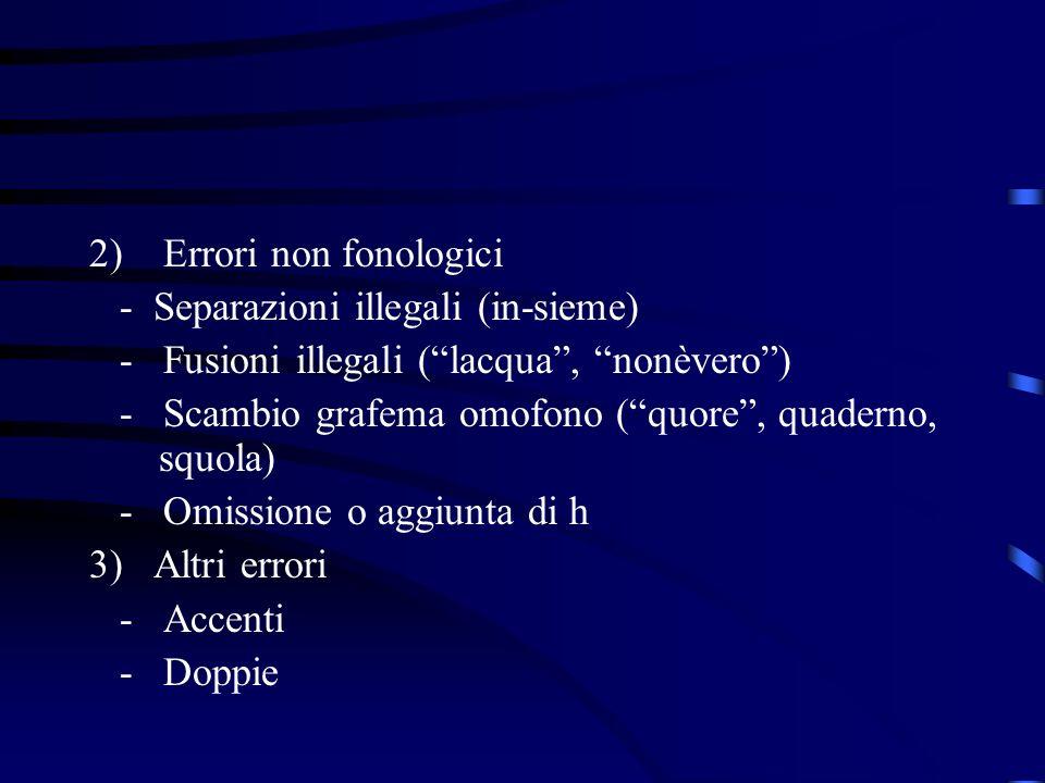 2) Errori non fonologici