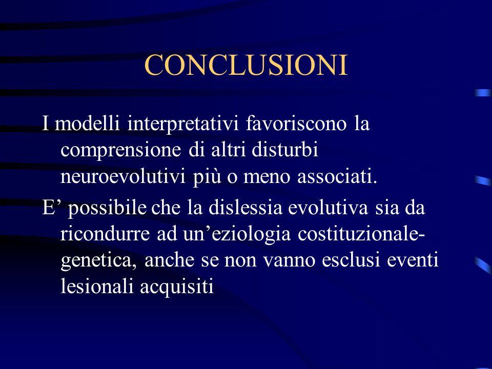 CONCLUSIONI I modelli interpretativi favoriscono la comprensione di altri disturbi neuroevolutivi più o meno associati.