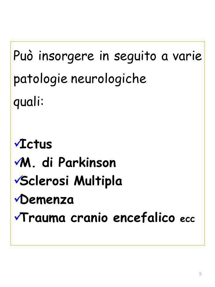 Può insorgere in seguito a varie patologie neurologiche