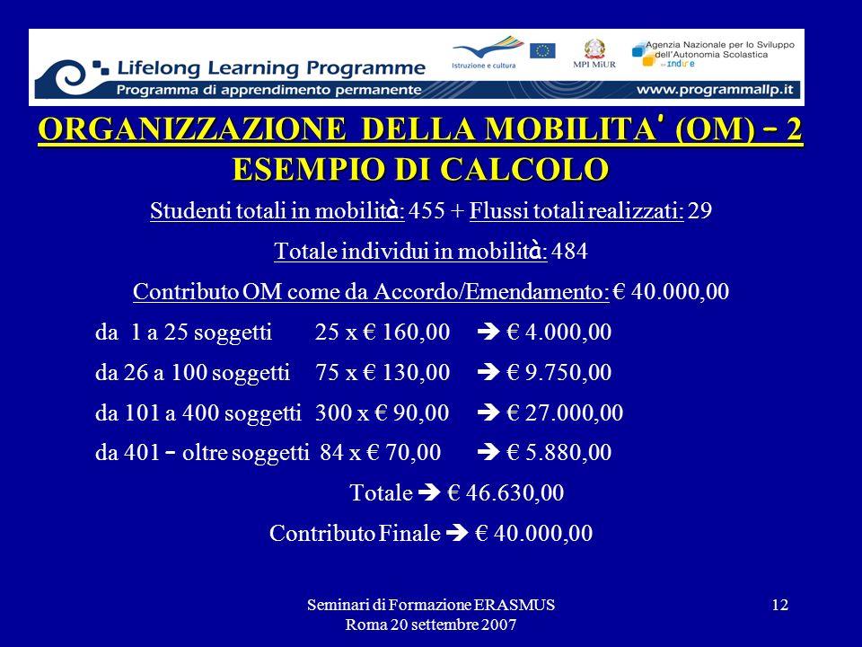ORGANIZZAZIONE DELLA MOBILITA' (OM) – 2 ESEMPIO DI CALCOLO