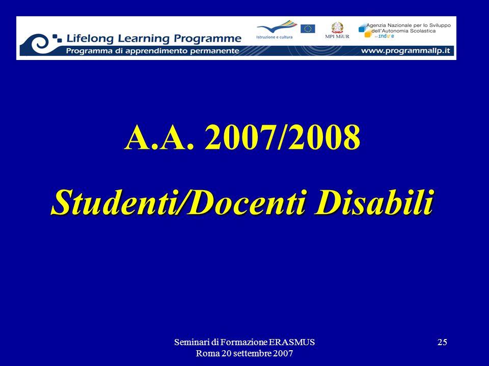 A.A. 2007/2008 Studenti/Docenti Disabili