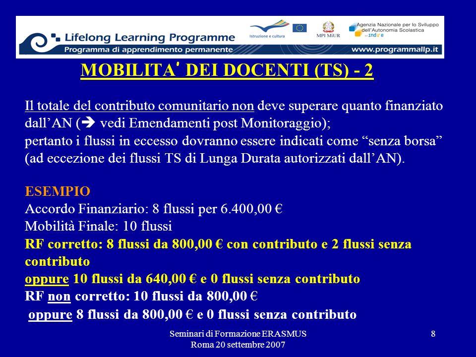 Seminari di Formazione ERASMUS Roma 20 settembre 2007