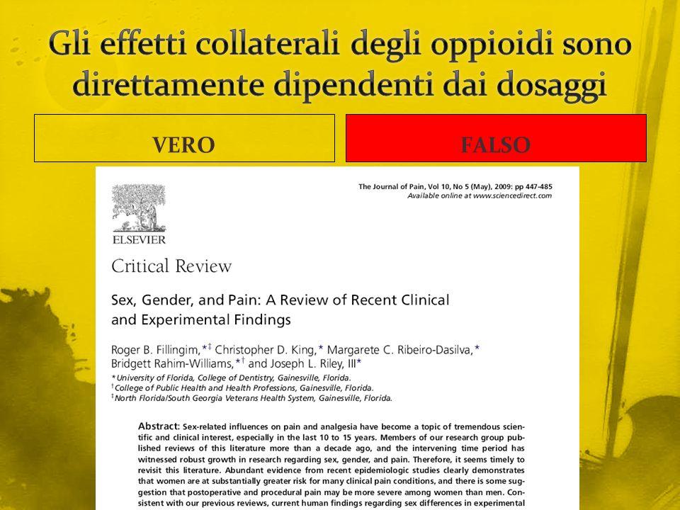 Gli effetti collaterali degli oppioidi sono direttamente dipendenti dai dosaggi