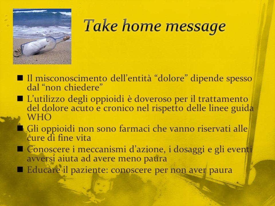 Take home message Il misconoscimento dell'entità dolore dipende spesso dal non chiedere