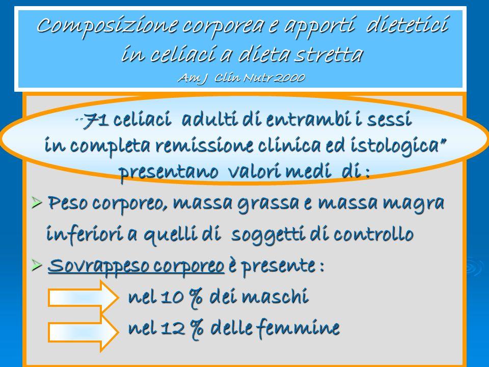 Composizione corporea e apporti dietetici in celiaci a dieta stretta Am J Clin Nutr 2000
