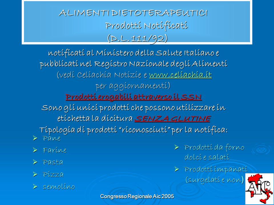 ALIMENTI DIETOTERAPEUTICI Prodotti Notificati (D.L. 111/92)
