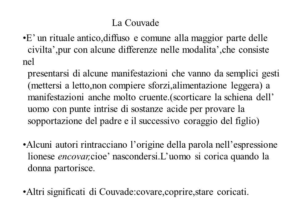La Couvade E' un rituale antico,diffuso e comune alla maggior parte delle. civilta',pur con alcune differenze nelle modalita',che consiste nel.