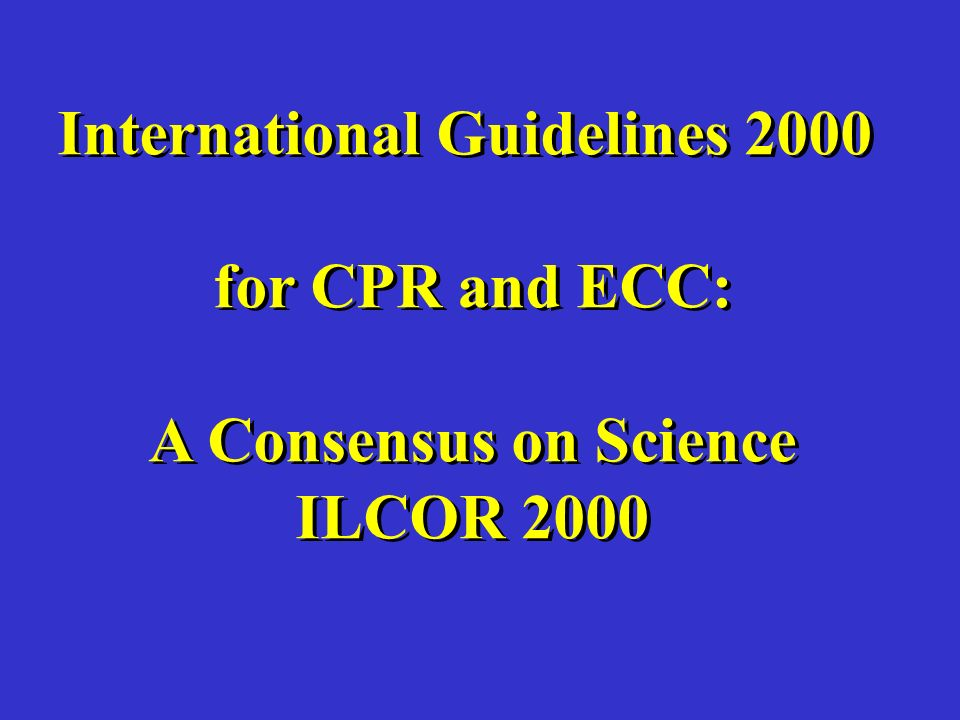 International Guidelines 2000