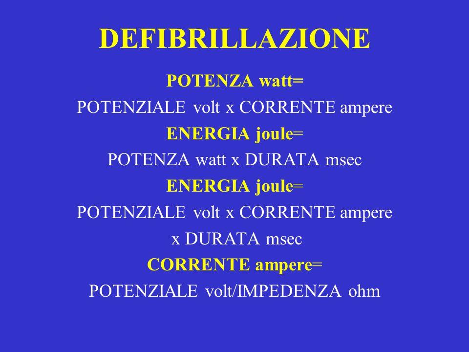 DEFIBRILLAZIONE POTENZA watt= POTENZIALE volt x CORRENTE ampere