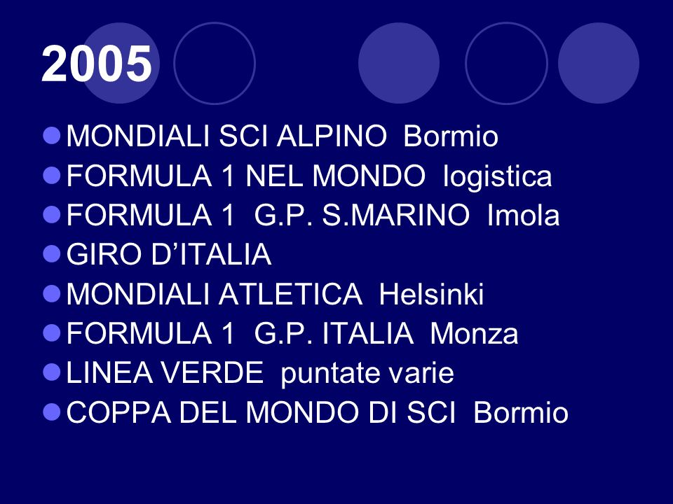 2005 MONDIALI SCI ALPINO Bormio FORMULA 1 NEL MONDO logistica