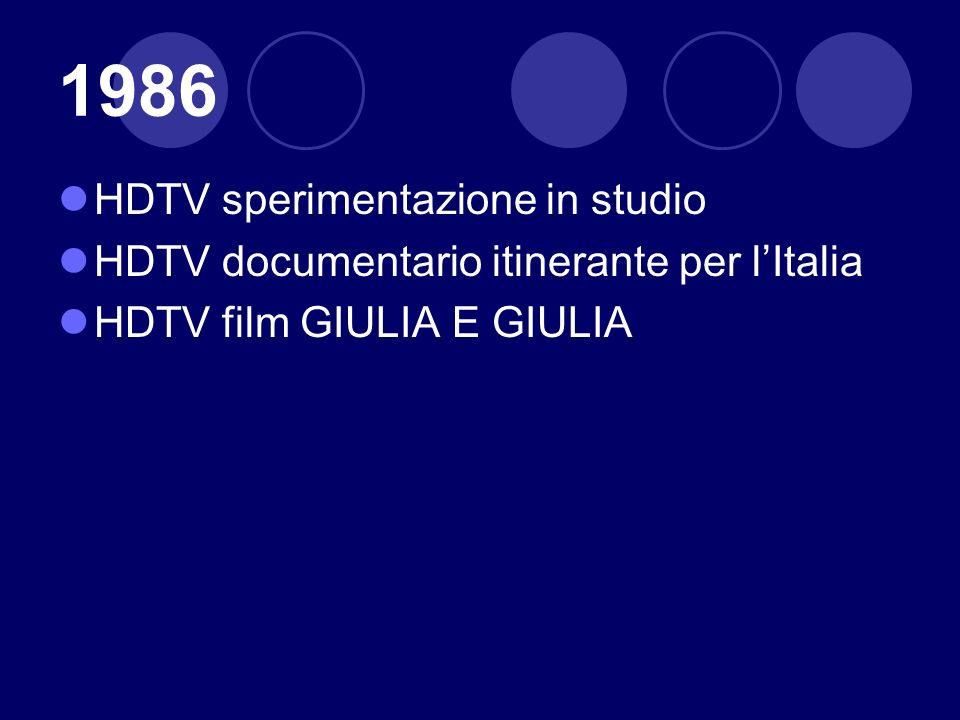 1986 HDTV sperimentazione in studio
