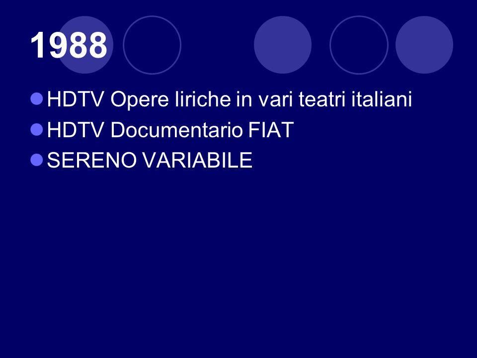 1988 HDTV Opere liriche in vari teatri italiani HDTV Documentario FIAT