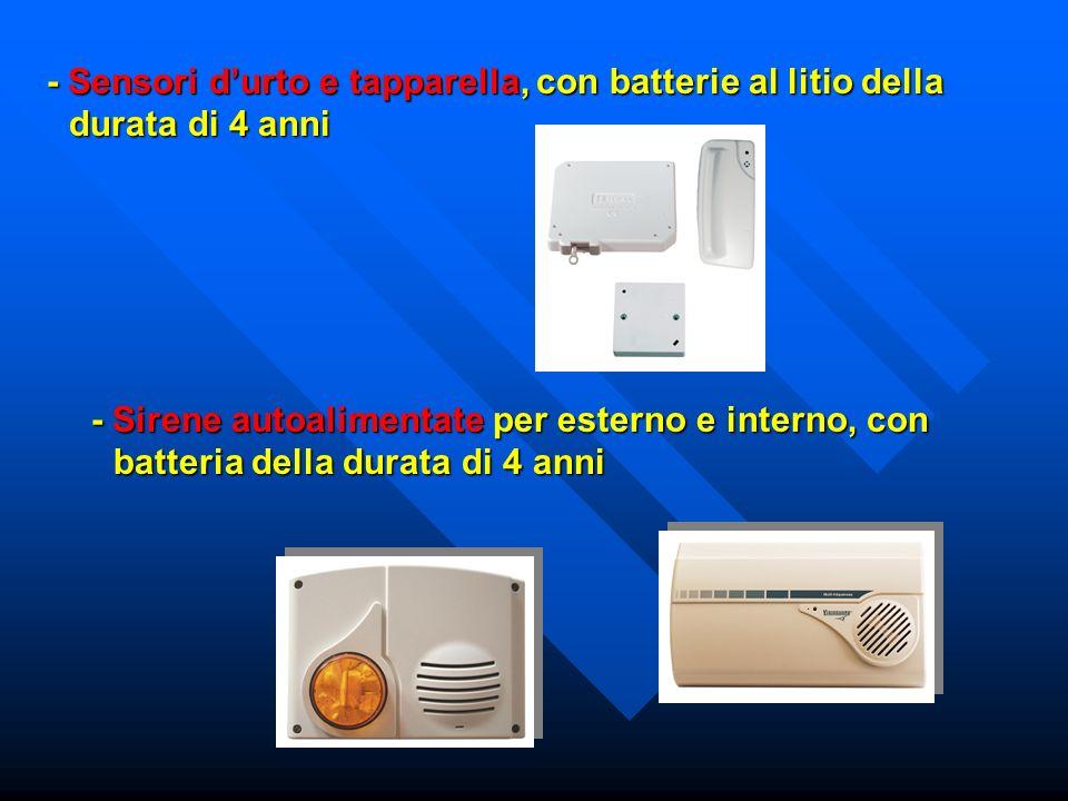 - Sensori d'urto e tapparella, con batterie al litio della durata di 4 anni