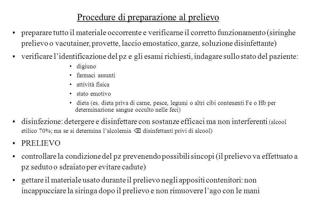 Procedure di preparazione al prelievo