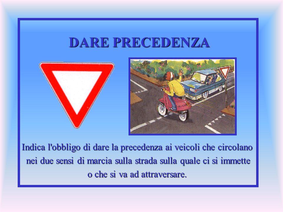 DARE PRECEDENZA Indica l obbligo di dare la precedenza ai veicoli che circolano. nei due sensi di marcia sulla strada sulla quale ci si immette.