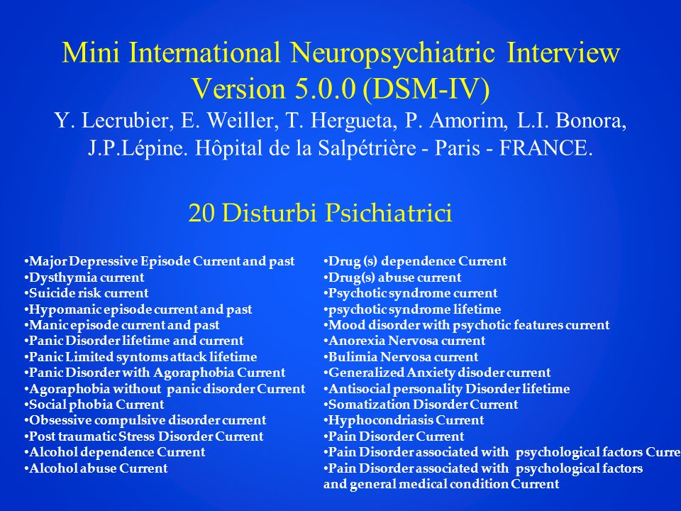 Mini International Neuropsychiatric Interview Version 5. 0 (DSM-IV) Y