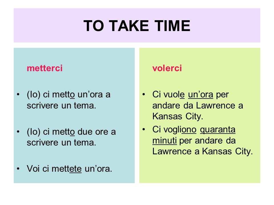 TO TAKE TIME metterci (Io) ci metto un'ora a scrivere un tema.