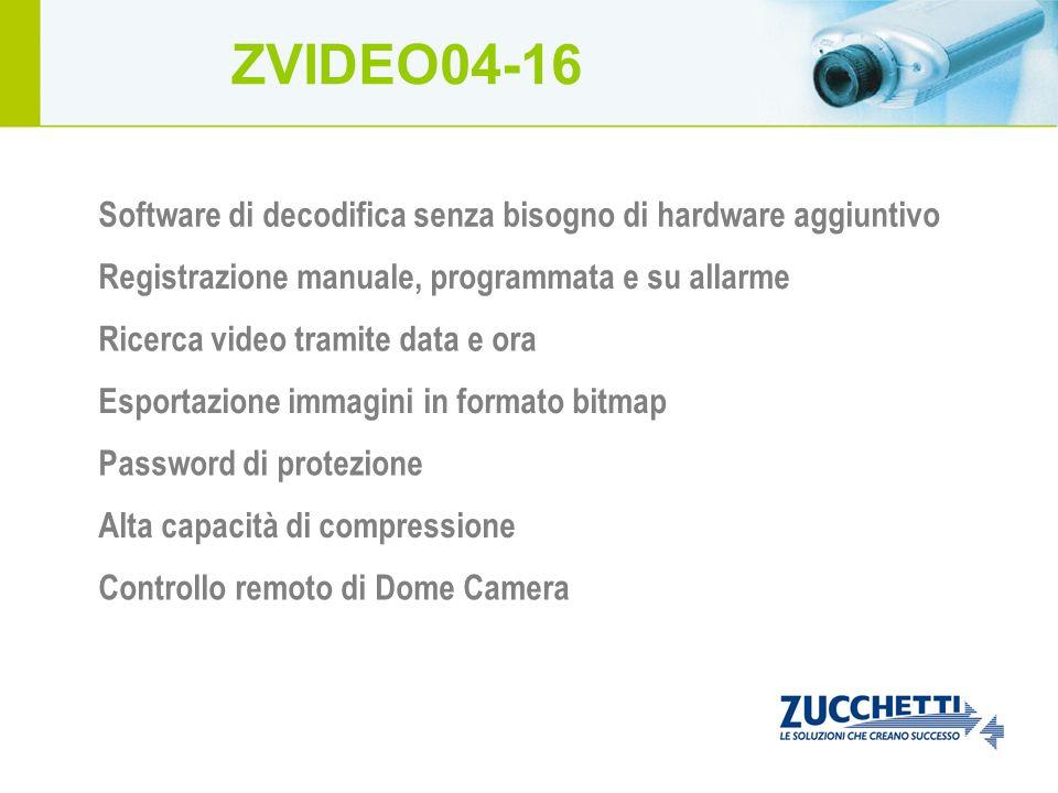 ZVIDEO04-16 Software di decodifica senza bisogno di hardware aggiuntivo. Registrazione manuale, programmata e su allarme.