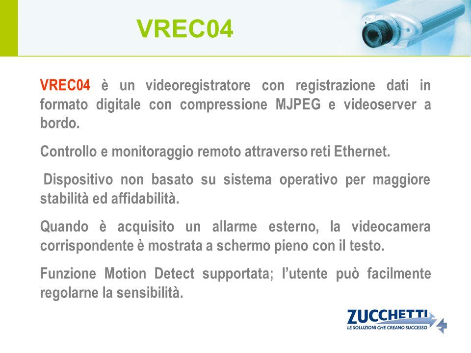 VREC04 VREC04 è un videoregistratore con registrazione dati in formato digitale con compressione MJPEG e videoserver a bordo.