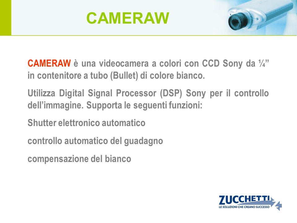CAMERAW CAMERAW è una videocamera a colori con CCD Sony da ¼ in contenitore a tubo (Bullet) di colore bianco.