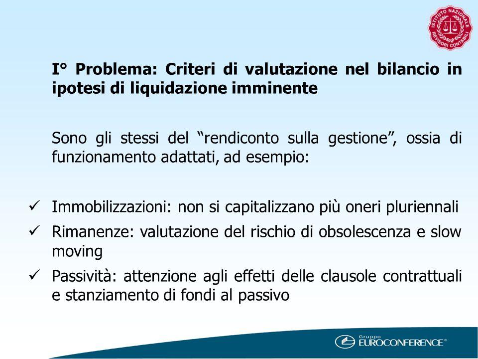 I° Problema: Criteri di valutazione nel bilancio in ipotesi di liquidazione imminente