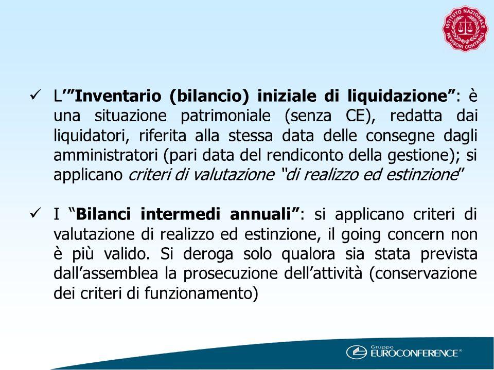 L' Inventario (bilancio) iniziale di liquidazione : è una situazione patrimoniale (senza CE), redatta dai liquidatori, riferita alla stessa data delle consegne dagli amministratori (pari data del rendiconto della gestione); si applicano criteri di valutazione di realizzo ed estinzione