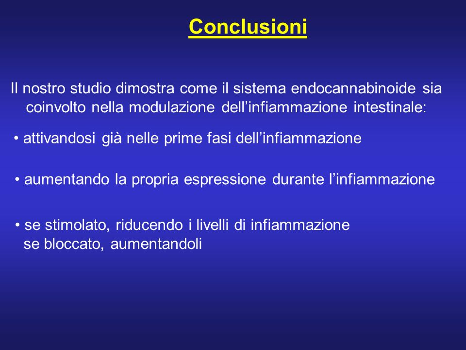 Conclusioni Il nostro studio dimostra come il sistema endocannabinoide sia. coinvolto nella modulazione dell'infiammazione intestinale: