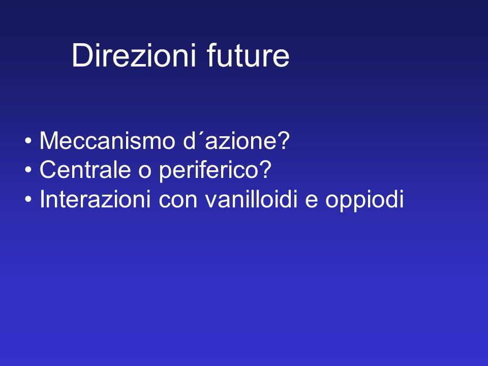 Direzioni future Meccanismo d´azione Centrale o periferico