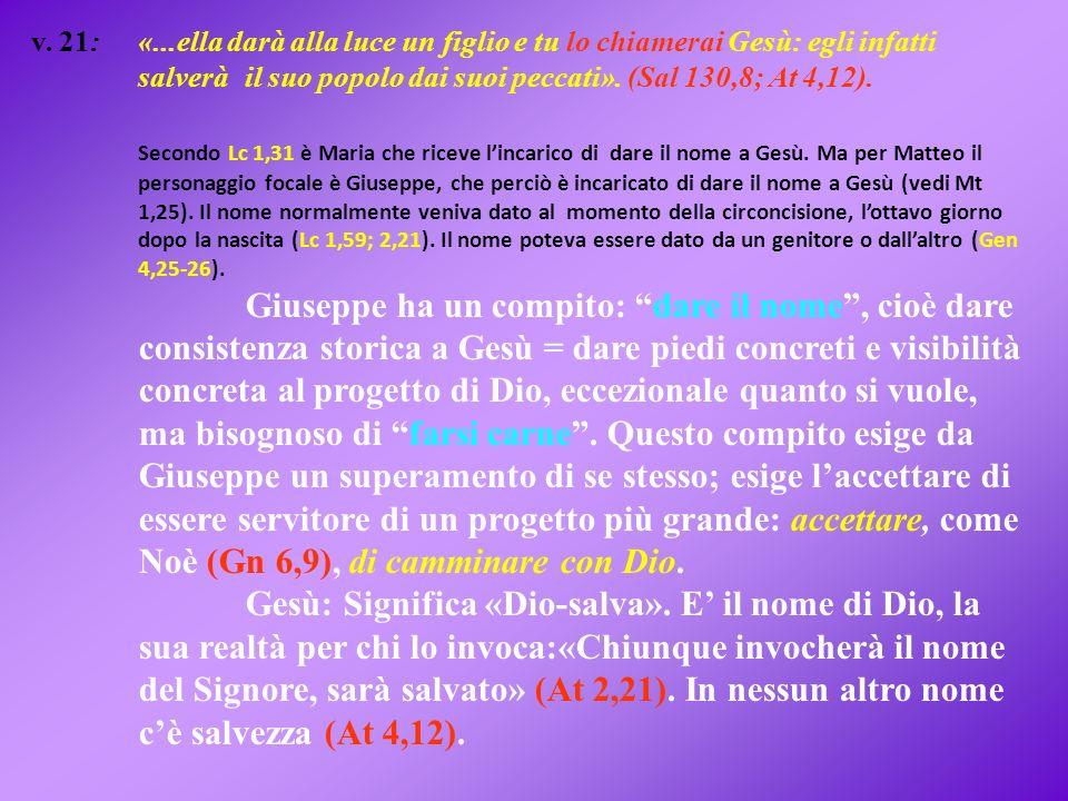 v. 21: «...ella darà alla luce un figlio e tu lo chiamerai Gesù: egli infatti salverà il suo popolo dai suoi peccati». (Sal 130,8; At 4,12).