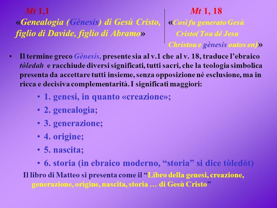 1. genesi, in quanto «creazione»; 2. genealogia; 3. generazione;