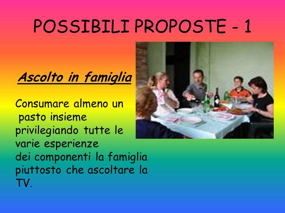 POSSIBILI PROPOSTE - 1 Ascolto in famiglia Consumare almeno un