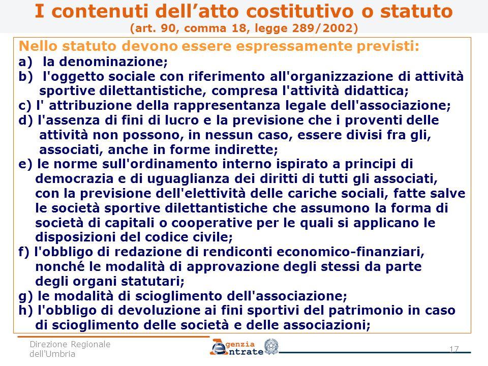I contenuti dell'atto costitutivo o statuto