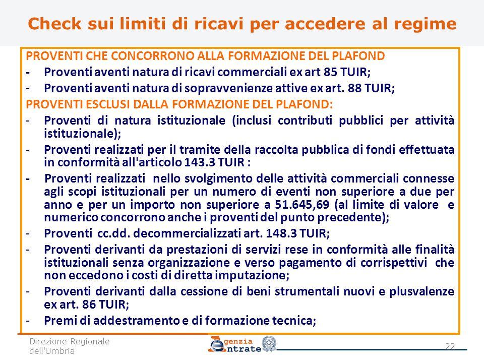 Check sui limiti di ricavi per accedere al regime