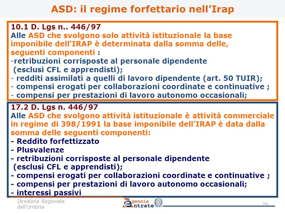 ASD: il regime forfettario nell'Irap