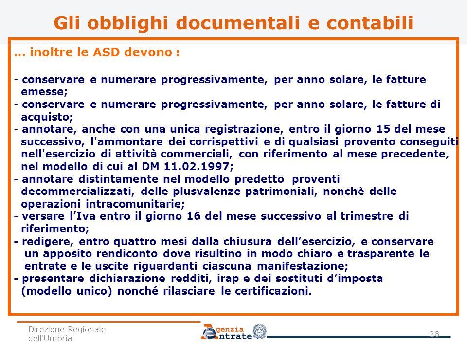 Gli obblighi documentali e contabili