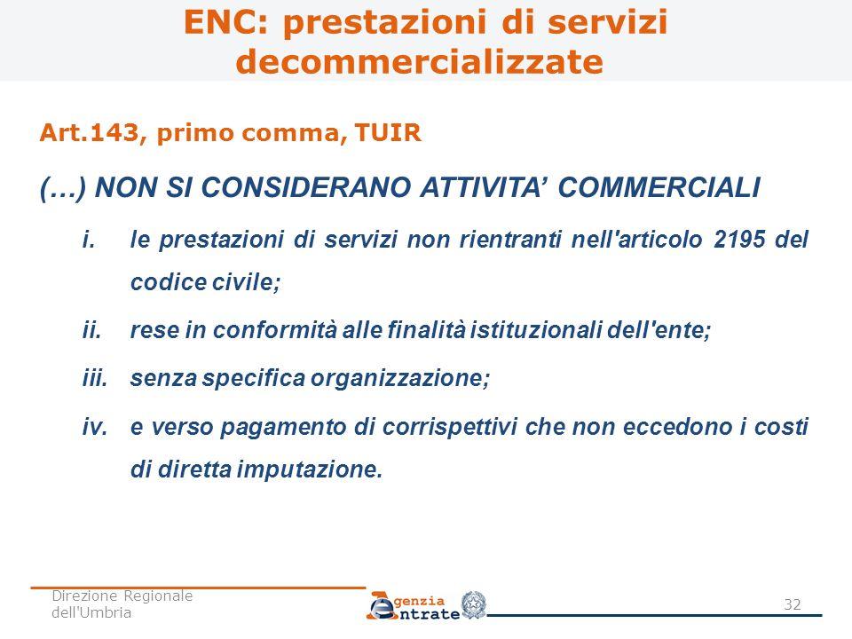 ENC: prestazioni di servizi