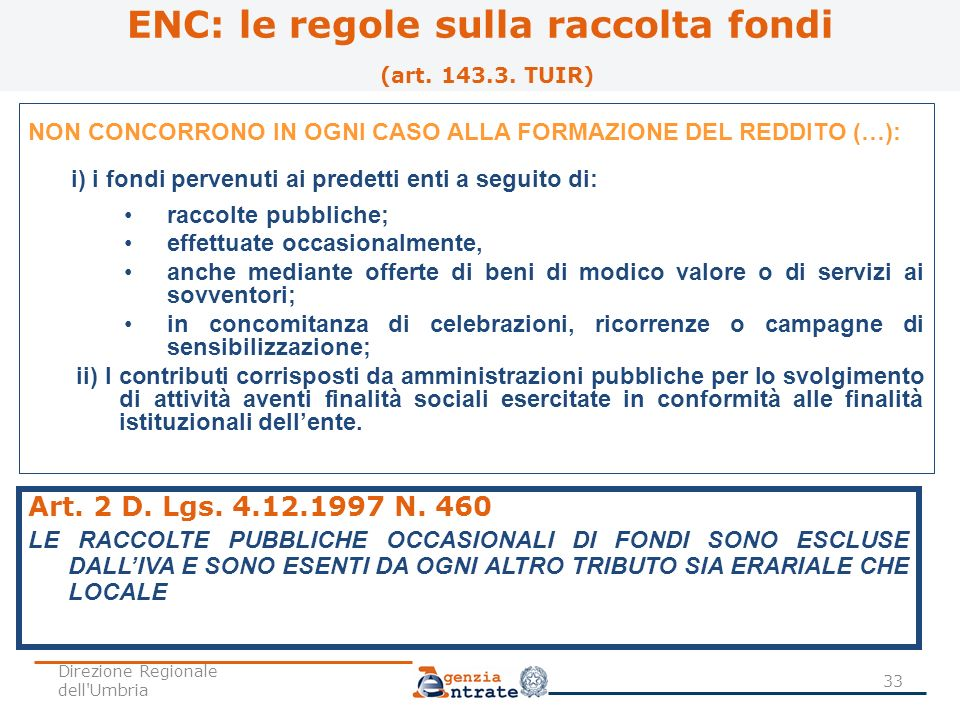ENC: le regole sulla raccolta fondi